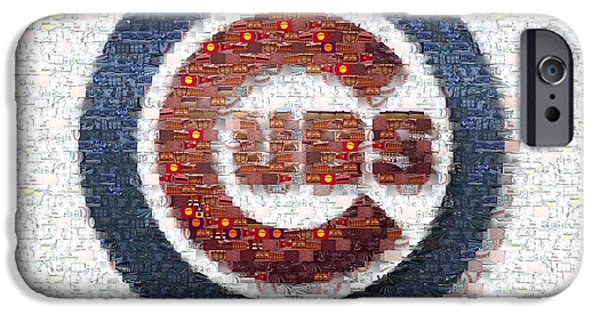 Chicago Cubs iPhone Cases - Chicago Cubs Mosaic iPhone Case by David Bearden