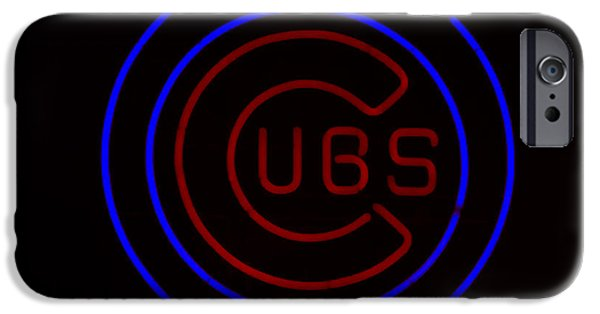 Wrigley iPhone Cases - Chicago Cubs Neon Sign iPhone Case by Emily Enz