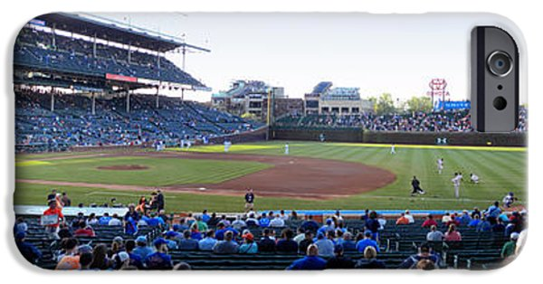 Wrigley Field iPhone Cases - Chicago Cubs PreGame Time Panorama iPhone Case by Thomas Woolworth