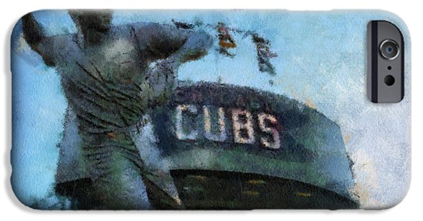 Chicago Cubs Digital iPhone Cases - Chicago Cubs Ron Santo 01 Photo Art iPhone Case by Thomas Woolworth