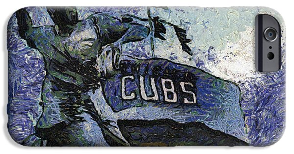Chicago Cubs Digital iPhone Cases - Chicago Cubs Ron Santo 02 Photo Art iPhone Case by Thomas Woolworth
