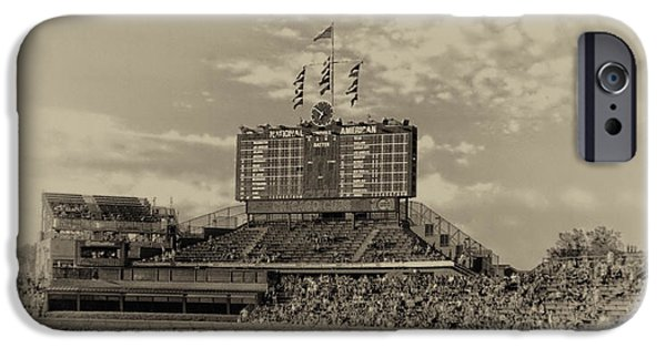 Wrigley Field iPhone Cases - Chicago Cubs Scoreboard In Heirloom Finish iPhone Case by Thomas Woolworth