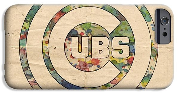 Chicago Cubs iPhone Cases - Chicago Cubs Vintage Logo iPhone Case by Florian Rodarte