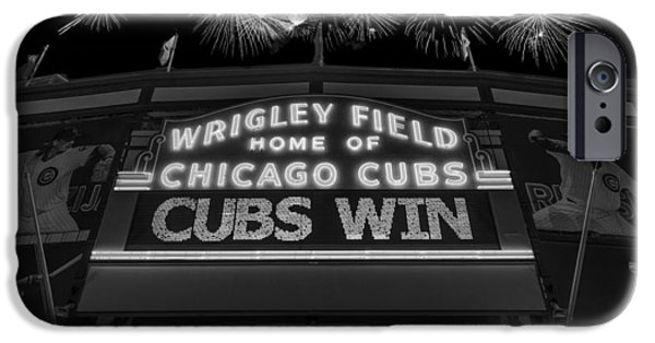 Fireworks Photographs iPhone Cases - Chicago Cubs Win Fireworks Night B W iPhone Case by Steve Gadomski