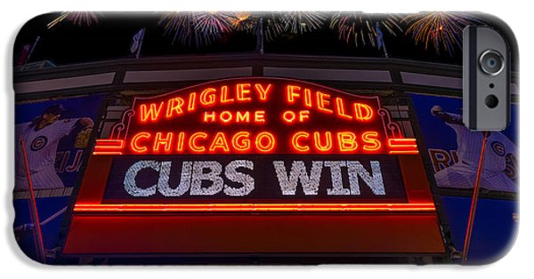Sign iPhone Cases - Chicago Cubs Win Fireworks Night iPhone Case by Steve Gadomski