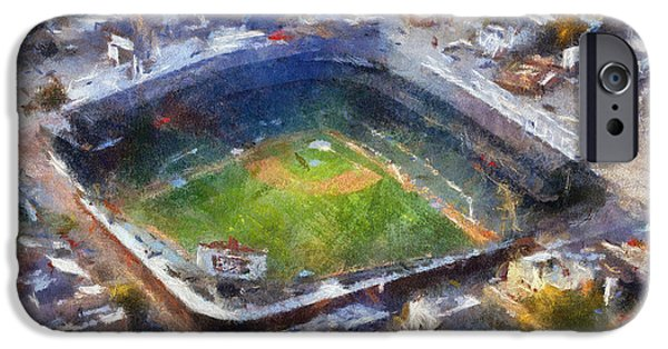 Wrigley iPhone Cases - Chicago Cubs Wrigley Field 02 Photo Art iPhone Case by Thomas Woolworth