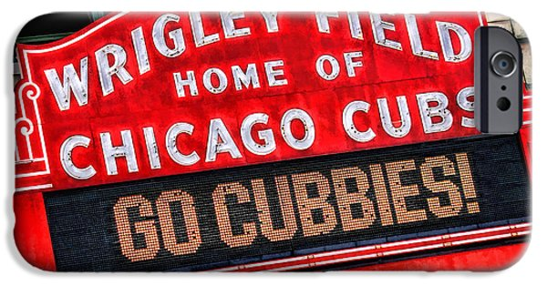 Sign iPhone Cases - Chicago Cubs Wrigley Field iPhone Case by Christopher Arndt
