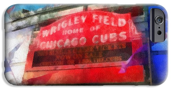 Wrigley iPhone Cases - Chicago Cubs Wrigley Field Marquee Photo Art 01 iPhone Case by Thomas Woolworth