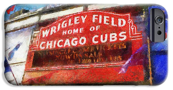 Asymmetrical iPhone Cases - Chicago Cubs Wrigley Field Marquee Photo Art 02 iPhone Case by Thomas Woolworth