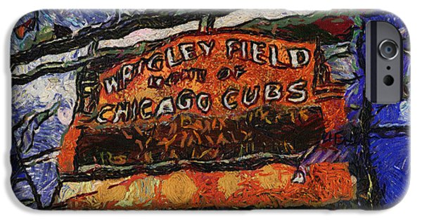 Asymmetrical iPhone Cases - Chicago Cubs Wrigley Field Marquee Photo Art 04 iPhone Case by Thomas Woolworth