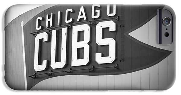 Wrigley iPhone Cases - Chicago Cubs Wrigley Field Sign Black and White Picture iPhone Case by Paul Velgos