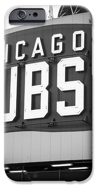 Chicago Cubs Wrigley Field Sign Black and White Picture iPhone Case by Paul Velgos