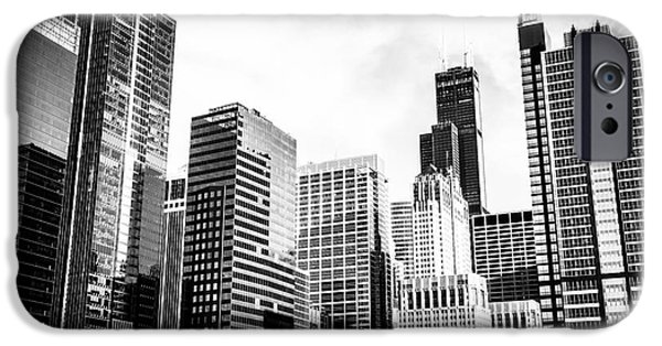 Sears Tower iPhone Cases - Chicago Downtown Black and White Picture iPhone Case by Paul Velgos