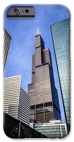 Willis Tower iPhone Cases - Chicago Downtown City Buildings with Willis-Sears Tower iPhone Case by Paul Velgos