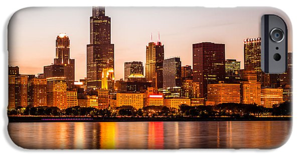 Willis Tower iPhone Cases - Chicago Downtown City Lakefront with Willis-Sears Tower iPhone Case by Paul Velgos