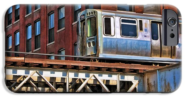 Chicago Paintings iPhone Cases - Chicago El and Warehouse Poster iPhone Case by Christopher Arndt