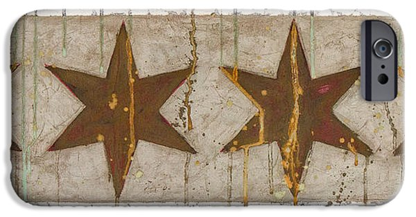 Chicago Paintings iPhone Cases - Chicago Flag in Rust iPhone Case by Kerri Ann