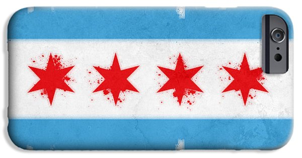 Painted Mixed Media iPhone Cases - Chicago Flag iPhone Case by Mike Maher