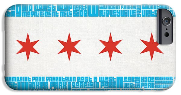 Downtown Mixed Media iPhone Cases - Chicago Flag Neighborhoods iPhone Case by Mike Maher