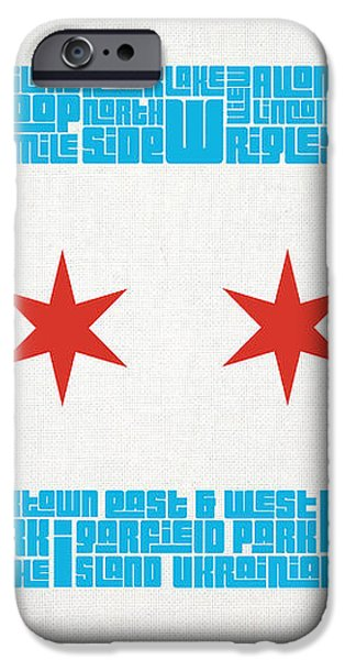 Chicago Flag Neighborhoods iPhone Case by Mike Maher