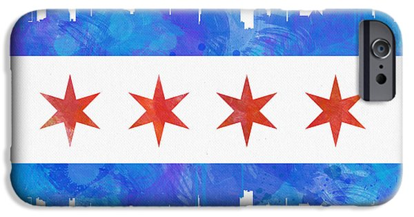 Painted iPhone Cases - Chicago Flag Watercolor iPhone Case by Mike Maher
