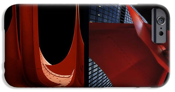Business Digital iPhone Cases - Chicago Flamingo Abstract 01 2 Panel iPhone Case by Thomas Woolworth