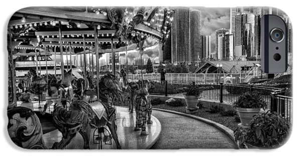 Wrigley iPhone Cases - Chicago from the Carousel iPhone Case by Erwin Spinner