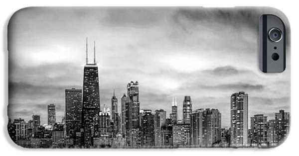 Eerie iPhone Cases - Chicago Gotham City Skyline Black and White Panorama iPhone Case by Christopher Arndt