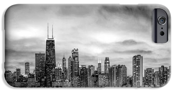 Grant Park Paintings iPhone Cases - Chicago Gotham City Skyline Black and White Panorama iPhone Case by Christopher Arndt