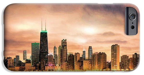 Grant Park Paintings iPhone Cases - Chicago Gotham City Skyline Panorama iPhone Case by Christopher Arndt