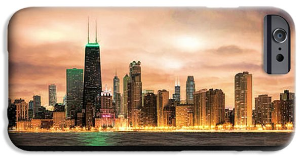 Sears Tower Paintings iPhone Cases - Chicago Gotham City Skyline Panorama Poster iPhone Case by Christopher Arndt