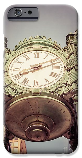 Macy iPhone Cases - Chicago Great Clock Vintage Photo iPhone Case by Paul Velgos