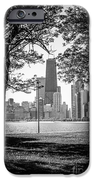 Chicago iPhone Cases - Chicago Hancock Building Through Trees in Black and White iPhone Case by Paul Velgos