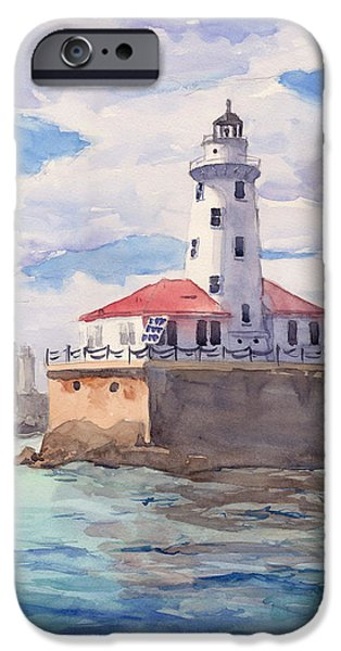Chicago Paintings iPhone Cases - Chicago Harbor Light iPhone Case by Max Good