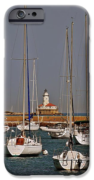 Old Chicago Water Tower iPhone Cases - Chicago Harbor Lighthouse Illinois iPhone Case by Christine Till
