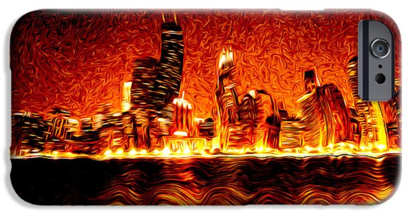 Photos With Red iPhone Cases - Chicago Hell Digital Painting iPhone Case by Paul Velgos