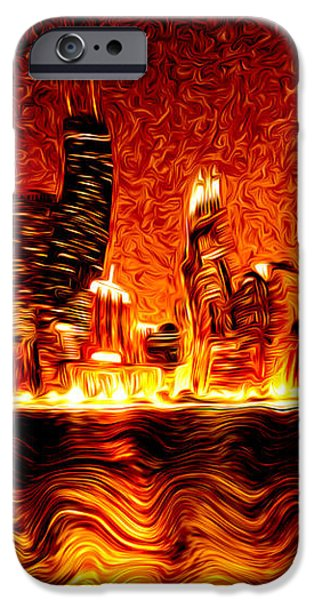 Chicago Hell Digital Painting iPhone Case by Paul Velgos