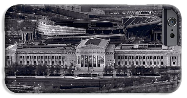 Soldier Field iPhone Cases - Chicago Icons BW iPhone Case by Steve Gadomski