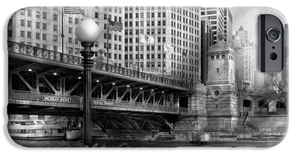 Old Chicago Water Tower iPhone Cases - Chicago IL - DuSable Bridge built in 1920 - BW iPhone Case by Mike Savad