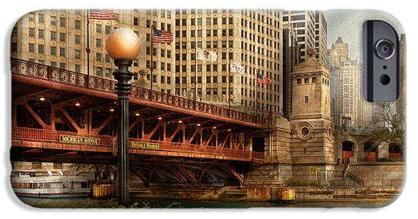 Old Chicago Water Tower iPhone Cases - Chicago IL - DuSable Bridge built in 1920 iPhone Case by Mike Savad