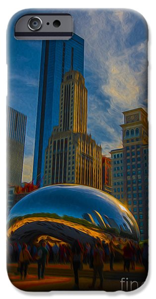 Chicago Cubs iPhone Cases - Chicago Illinois Bean Digital OIL Paint iPhone Case by David Haskett