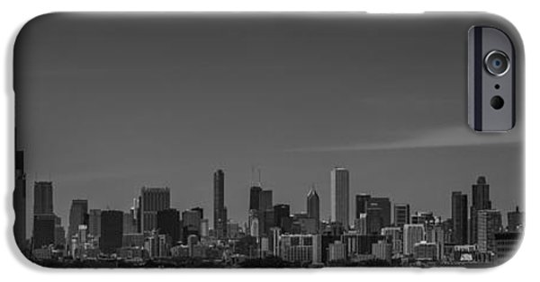 Chicago Cubs iPhone Cases - Chicago Illinois Skyline Black and White iPhone Case by David Haskett