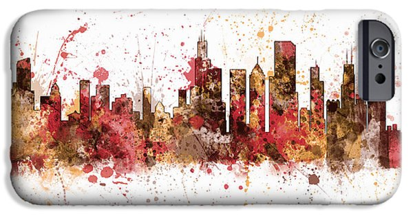 States iPhone Cases - Chicago Illinois Skyline iPhone Case by Michael Tompsett