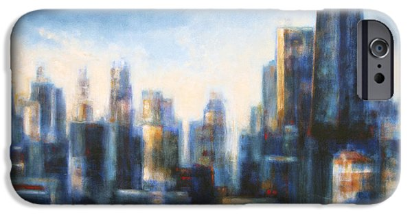 Chicago Paintings iPhone Cases - Chicago in the Morning iPhone Case by Joseph Catanzaro