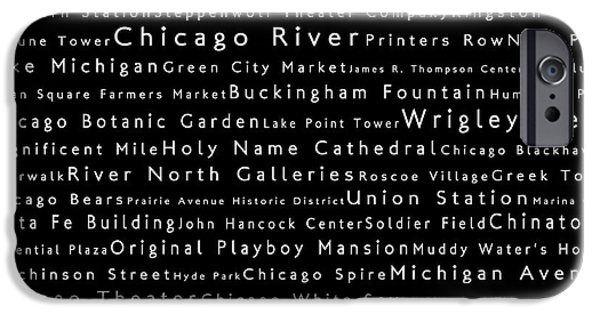 Wrigley Field Digital iPhone Cases - Chicago in Words Black iPhone Case by Sabine Jacobs