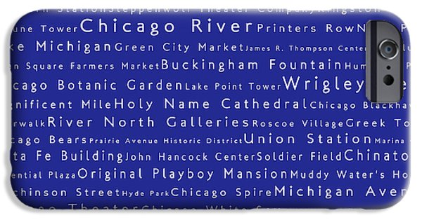 Wrigley Field iPhone Cases - Chicago in Words Blue iPhone Case by Sabine Jacobs