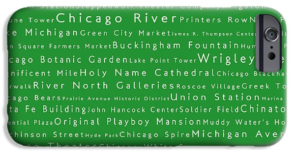 Wrigley Field Digital iPhone Cases - Chicago in Words Green iPhone Case by Sabine Jacobs