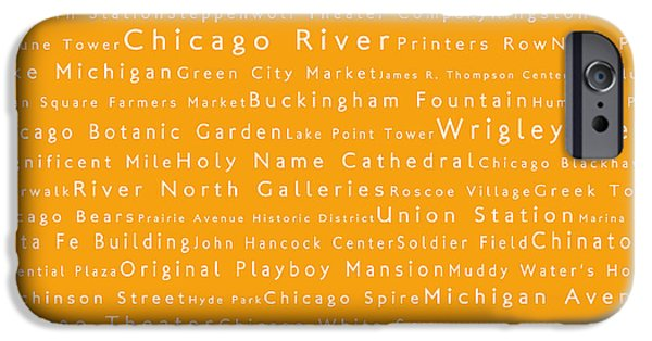 Wrigley Field Digital iPhone Cases - Chicago in Words Orange iPhone Case by Sabine Jacobs