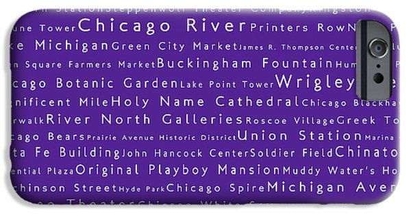 Wrigley Field Digital iPhone Cases - Chicago in Words Purple iPhone Case by Sabine Jacobs