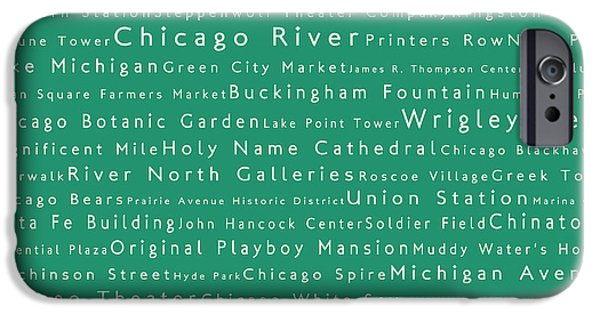Wrigley Field iPhone Cases - Chicago in Words Algae iPhone Case by Sabine Jacobs